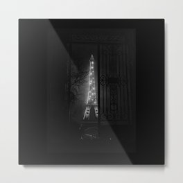 Midnight, Eiffel Tower, Paris City of Lights Anniversary black and white photograph Metal Print