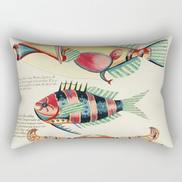 Colourful and surreal s of fishes and crab found in the Indian and Pacific Oceans by Louis Renard (1 Rectangular Pillow