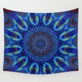Blue Spiral Kaleidoscope Wall Tapestry
