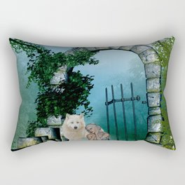 Wonderful fairy with white wolf Rectangular Pillow