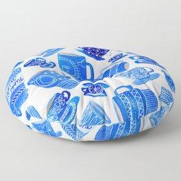 Blue Teacups and Mugs Floor Pillow