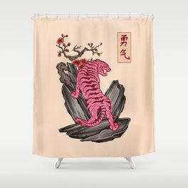 Japanese Courage Tiger Shower Curtain