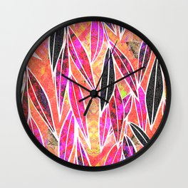 Autumn Sunset Bamboo leaves Wall Clock