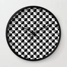 Black and White Checkerboard Scales of Justice Legal Pattern Wall Clock