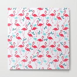 Summer trendy pink teal tropical flamingo floral pattern Metal Print