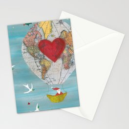 Christmas Santa Claus in a Hot Air Balloon for Peace Stationery Cards