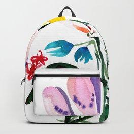 Loose Big Watercolor Flowers Backpack