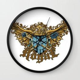 Heraldry Vintage Crest Wings  Wall Clock