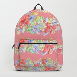 hawaiian flowers red pink Backpack