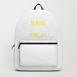 Don't Mess with a Gemini | Zodiac - Big and Bold Neon Yellow Backpack