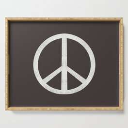 Peace - peace flag, peace, love, woodcut, linocut, vintage, hippie, happy Serving Tray