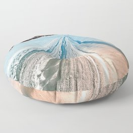 Winter road into the mountains Floor Pillow