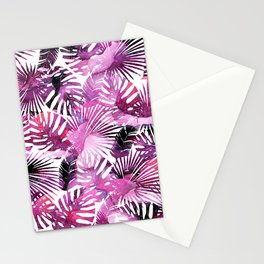 Modern pink purple watercolor tropical palm monster leaves Stationery Cards