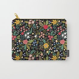 Amazing floral pattern with bright colorful flowers, plants, branches and berries on a black backgro Carry-All Pouch