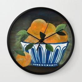 Still Life Oranges in Blue Bowl Wall Clock