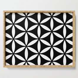 flower of life - simple black and white geometric symbol Serving Tray