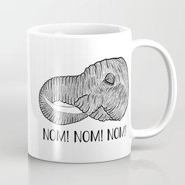 Elephant NOM! NOM! NOM! White Background Coffee Mug