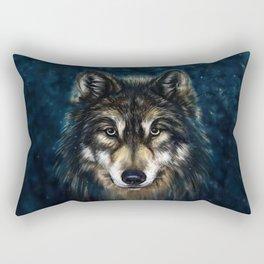 Artistic Wolf Face Rectangular Pillow