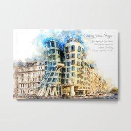 Dancing House, Prague, Aquarell Metal Print