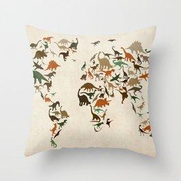 Dinosaur Map of the World Map Throw Pillow