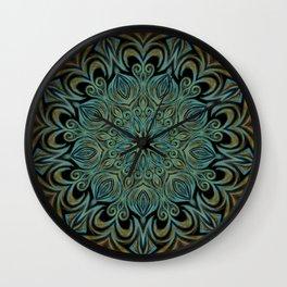 Teal and Gold Mandala Swirl Wall Clock