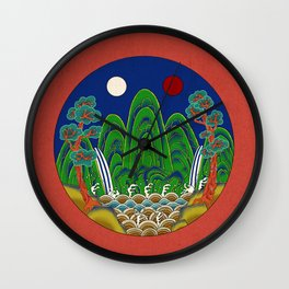 Minhwa: Sun, Moon and 5 Peaks: King's painting A_1 Type  Wall Clock