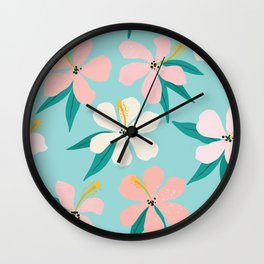 Sweet Tropical Flower Pattern on Sky Blue Wall Clock