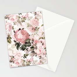 Vintage & Shabby Chic - Sepia Pink Roses  Stationery Cards