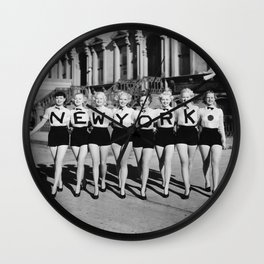 The Girl with New York shirt in a line, lovely girls on the street - mid century vintage photo Wall Clock