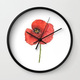 Watercolor red poppy flowers, poppies, Remembrance Day Wall Clock