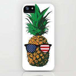 Hawaiian Pineapple American Flag Sunglasses 4th of July T-Shirt iPhone Case