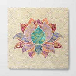 Watercolor & Gold paisley decorated lotus Metal Print