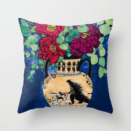 Bright Peony Rose Bouquet in Grecian Urn with Godzilla Walking French Bulldogs Painting Throw Pillow