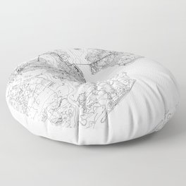 Charleston White Map Floor Pillow