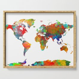 World map watercolor 3 Serving Tray