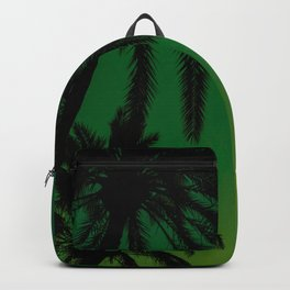 Tropical Palm Tree Silhouette Green Ombre Sunset Crescent Moon At Night Backpack