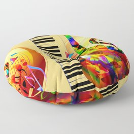 Colorful  music instruments painting, guitar, treble clef, piano, musical notes, flying birds Floor Pillow