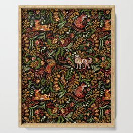 Khokhloma Russian Forest Animals Serving Tray
