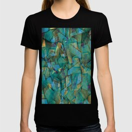Fragments In blue - Abstract, fragmented art in blue T-shirt
