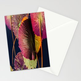Colorful Nymphaea Tanzanite Lily Pad Leaves Stationery Cards
