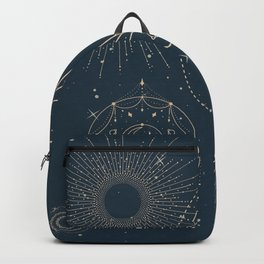 Vintage Dark Navy Blue Solar System Planets Astrology Art Horoscope Backpack