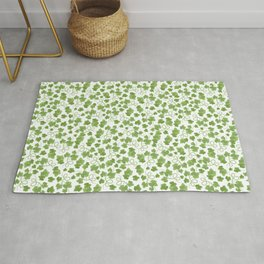 GREEN LEAVES Watercolor Hand Drawn Seamless Pattern Rug