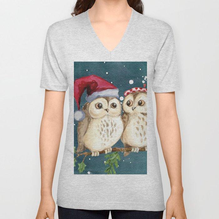 Cute Christmas Winter Owl Couple Painting Unisex V-Neck