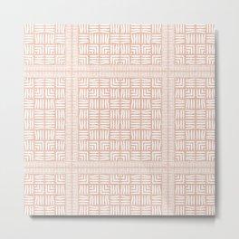Nappy Faux Velvet Framed Weave in Pale Peach Reversed Metal Print