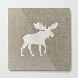 White Moose Silhouette Metal Print