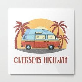 Overseas Highway  TShirt Vintage Caravan Shirt Travel Road Gift Idea Metal Print