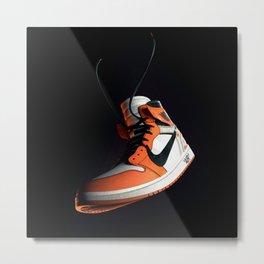 AJ 1 Black Orange Metal Print