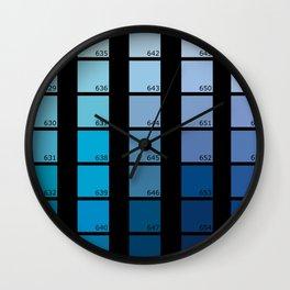 Shades of Blue Pantone Wall Clock