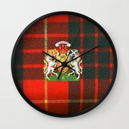 RED & GREEN CAMERON TARTAN ROYAL SCOTLAND Wall Clock