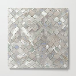 Quatrefoil Moroccan Pattern Mother of Pearl Metal Print